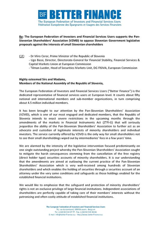 Open Letter to Slovenian MPs in support of individual shareholders Page 1