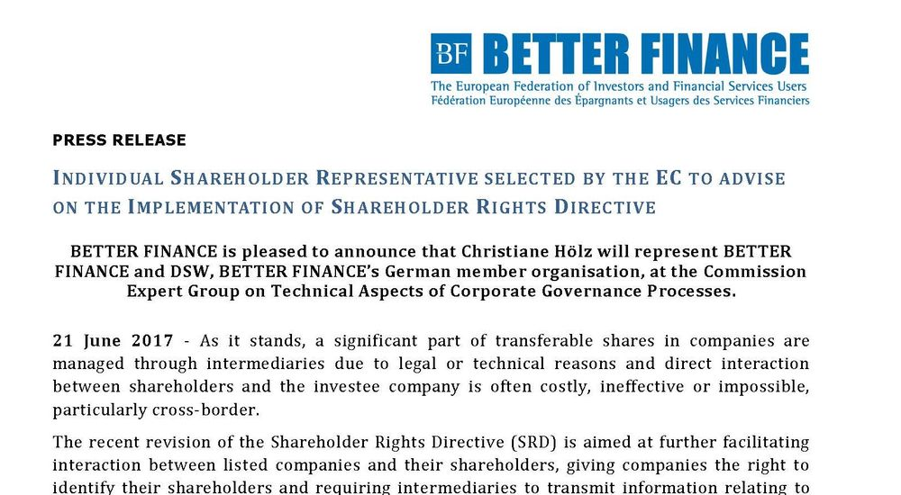 PR INDIVIDUAL SHAREHOLDER REPRESENTATIVE SELECTED BY EC TO ADVISE ON IMPLEMENTATION SRD 150917