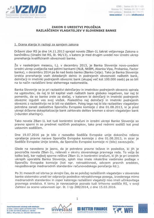 Zakon o ureditvi polozaja razlascenih vlagateljev v slovenske banke