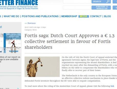 FORTIS – 1,3 milijarde € odškodnine razlaščenim delničarjem - po desetletju postopkov do odškodnin tudi preko VZMD, sest...