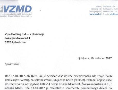 VIPA HOLDING - zagotovila likvidacijskega upravitelja ob zahtevi VZMD, večinski lastnik MLINO s pobudo za sestanek, ob f...