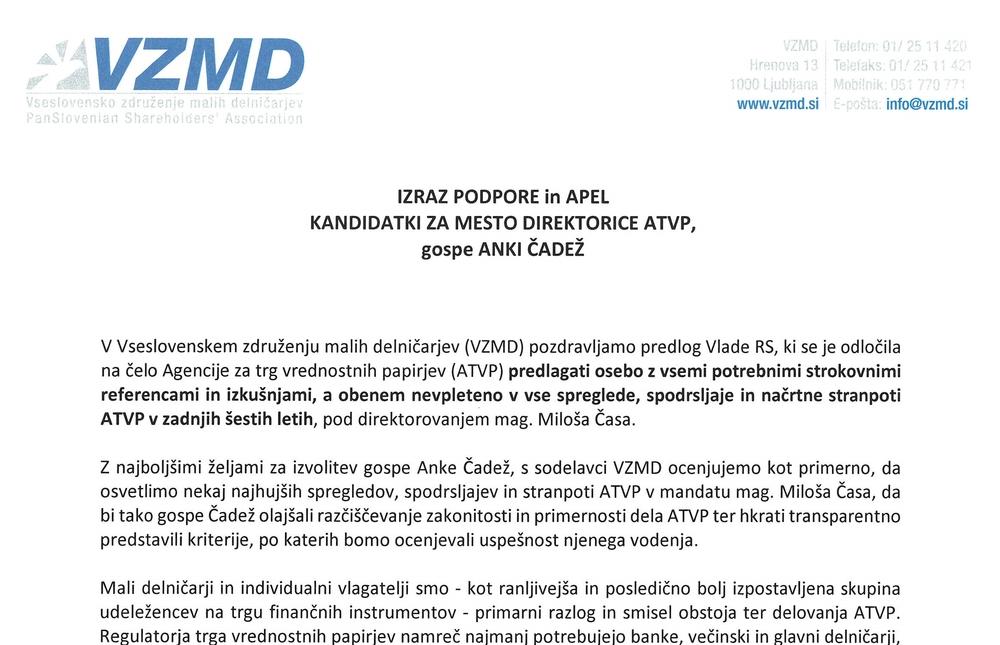 Izraz podpore in apel kandidatki za mesto direktorice ATVP Page 1